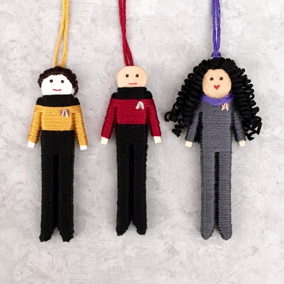Handmade Star Trek worry doll set including Captain Picard, Lt. Commander Data and Counselor Deanna Troi. Each doll is 3 tall and handcrafted using wooden pieces and embroidery floss. All worry dolls can be made as magnets, key chains, or ornaments at no additional cost. Select style at checkout.  Magnet is 1/2 round, super-strong magnet attached to back of doll. Key chain is 2 cm key ring with 4 cm long chain attached to top of doll.  *Personalization is now available* Select personali...