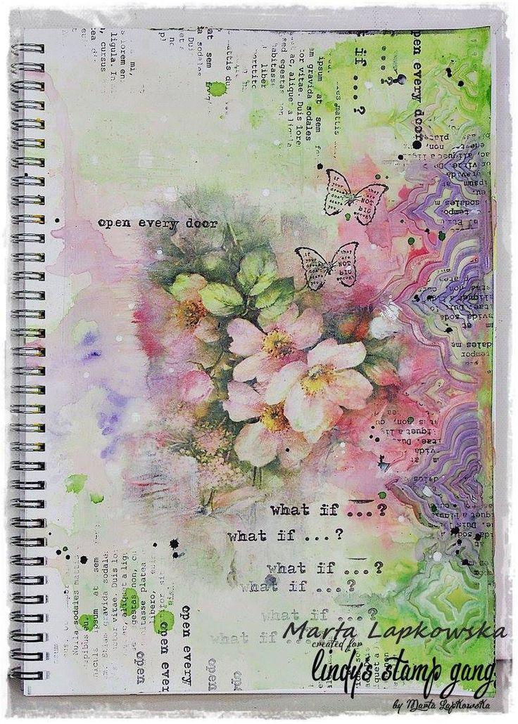 Stunning 'Art Journal' Page by Marta Lapkowska for 'Lindy's Stamp Gang' ~ Wendy Schultz ~ Art Journal.