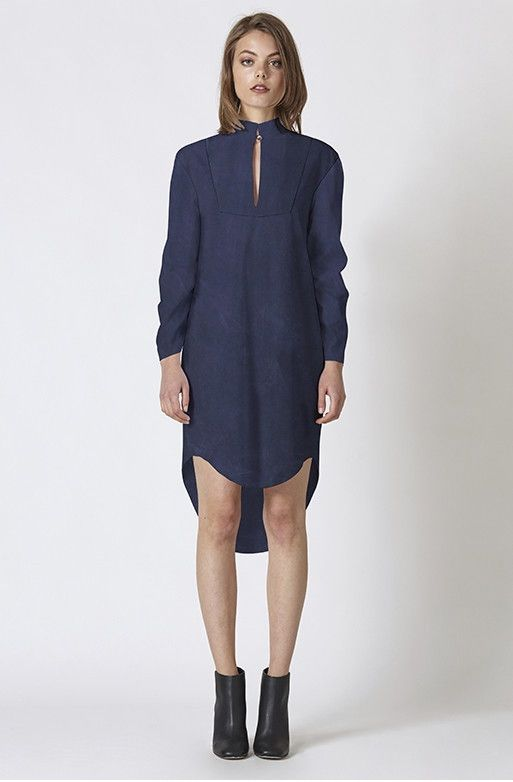 RUBY SEES ALL - Navy Long Sleeve Loose Fit Crawler Midi Dress