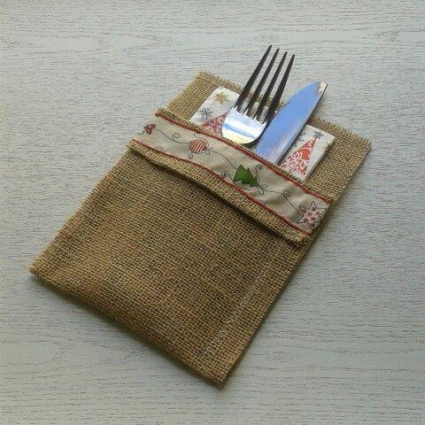 Servilleteros de Navidad.Tela de saco. 5€