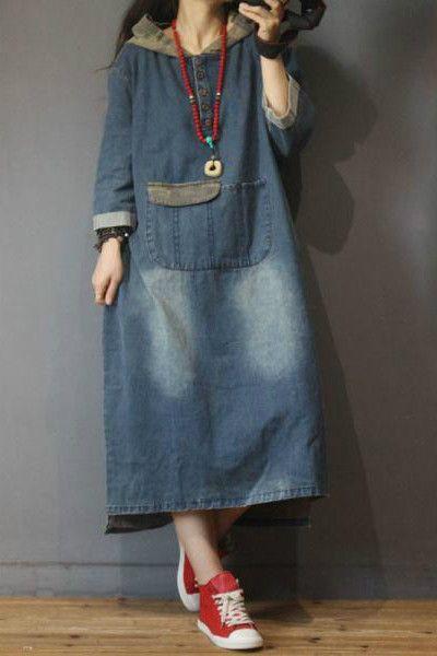 Blau verblassendes mit Kapuze Denim-Kleid Mode-großes Größen-Jeans-Kleid