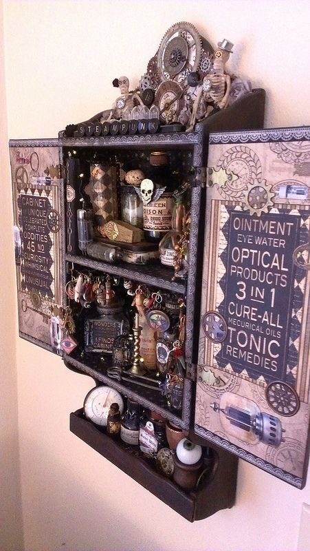 Amazing 44 Unique Steampunk Halloween Decorating Ideas : 44 Steampunk Halloween Decorating Ideas With Wooden Wall Storage And Bottles Decoration