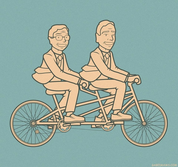 REUNITED | PRINT | $15 | WWW.GABEDRAWS.COM | WWW.GABEDRAWS.ETSY.COM  #stephen #colbert #jon #stewart #report #daily #show #nation #bff #best #friends #bicycle #tandem #art #gabedraws #gabe #draws #etsy