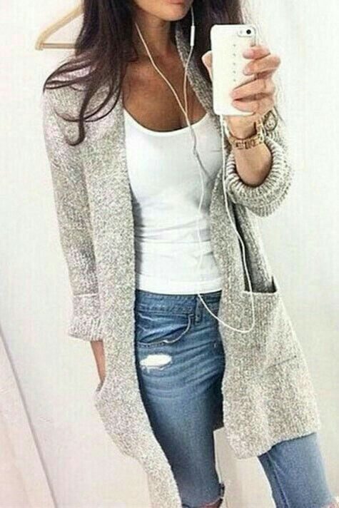 light grey long cardigan with white tee and denim.