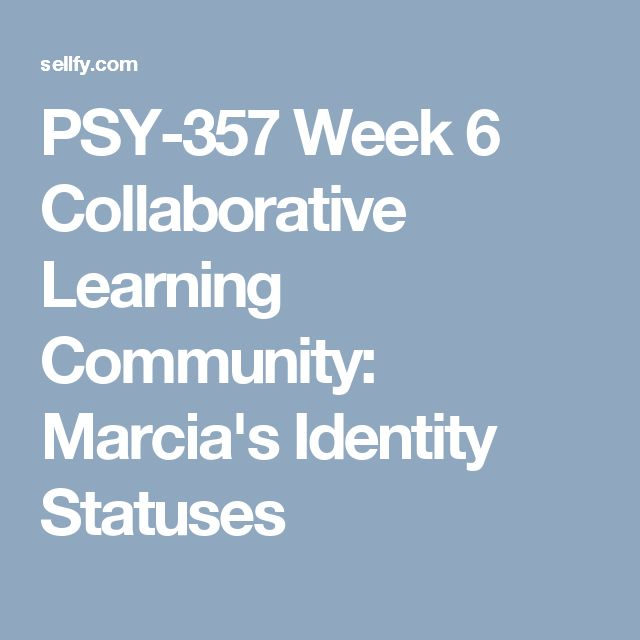 PSY-357 Week 6 Collaborative Learning Community: Marcia's Identity Statuses