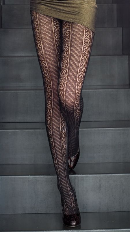 Black tights with ornaments. Check out our tips on the best tights >>> http://bit.ly/1hAbTZS