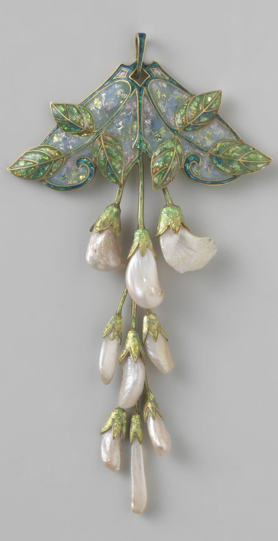 An Art Nouveau gold, enamel and pearl 'Wisteria' pendant, by Georges Fouquet and Étienne Tourrette, circa 1908-1910. Signed 'G. FOUQUET', and numbered. #Fouquet #ArtNouveau #pendant
