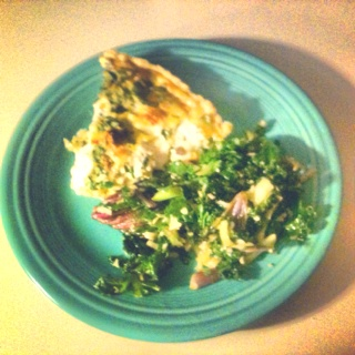 Spinach and goat cheese quiche and parmesan/garlic local kale