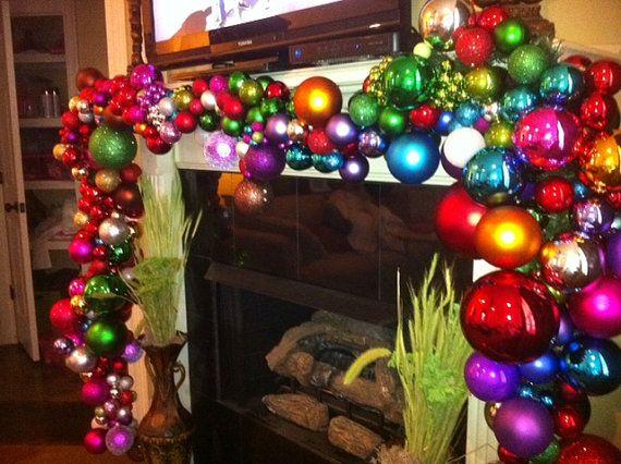 Whimsical christmas garland fireplaces christmas for Christmas garland on fireplace