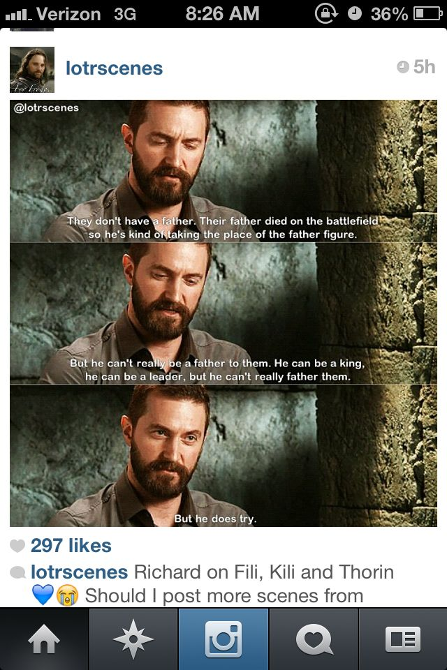 Richard talking about Thorin's relationship with Fili and Kili. So so sweet.