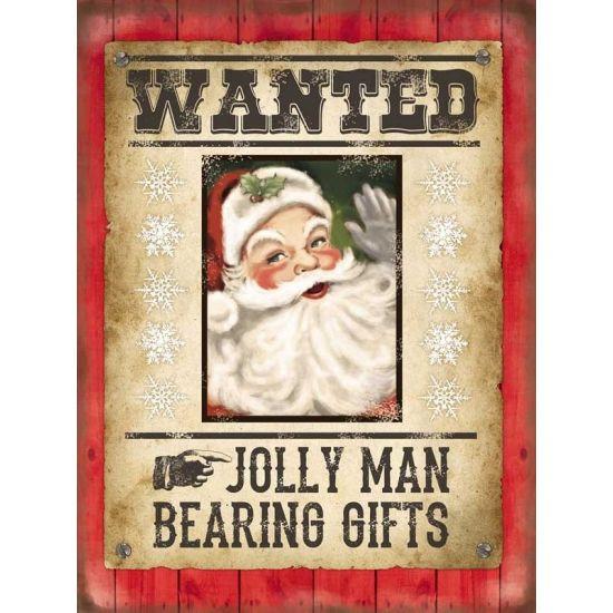 Grote decoratie plaat voor aan de muur met print van de kerstman en de tekst: Wanted jolly man bearing gifts. De wanddecoratie is ongeveer 30 x 40 cm en is gemaakt van metaal.