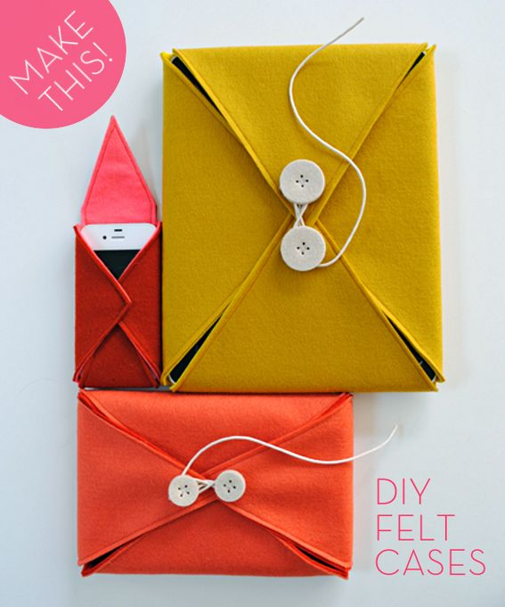 Last-Minute DIY Gift Idea: Two-Toned Felt Gadget Cases!
