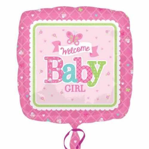 Folieballon Welkom Baby Girl