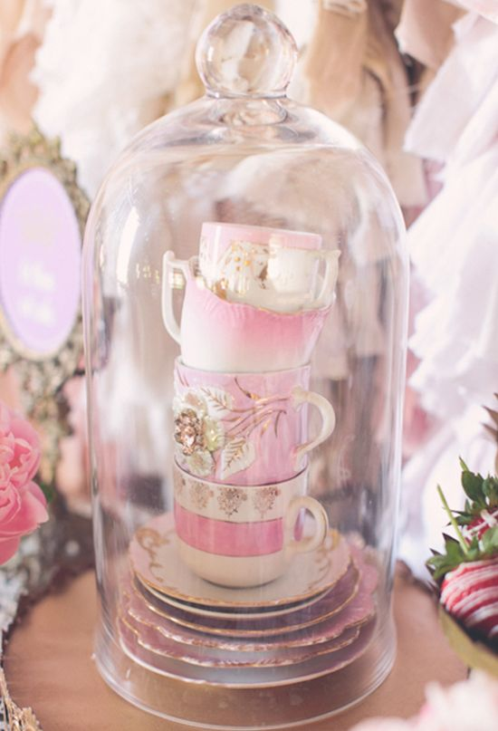 Tower of tea cups - perfect tea buffet accent. Vintage tea party inspiration