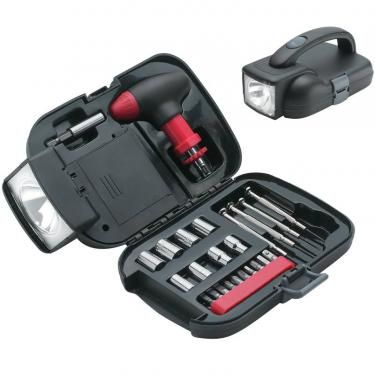 Essential 25 Piece Tool Set with Storage Case and Flashlight