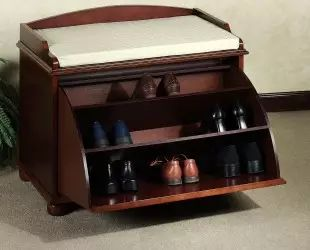 Small Antique Closed Shoe Rack Bench With Drawer Storage And White Leather Seat Ideas