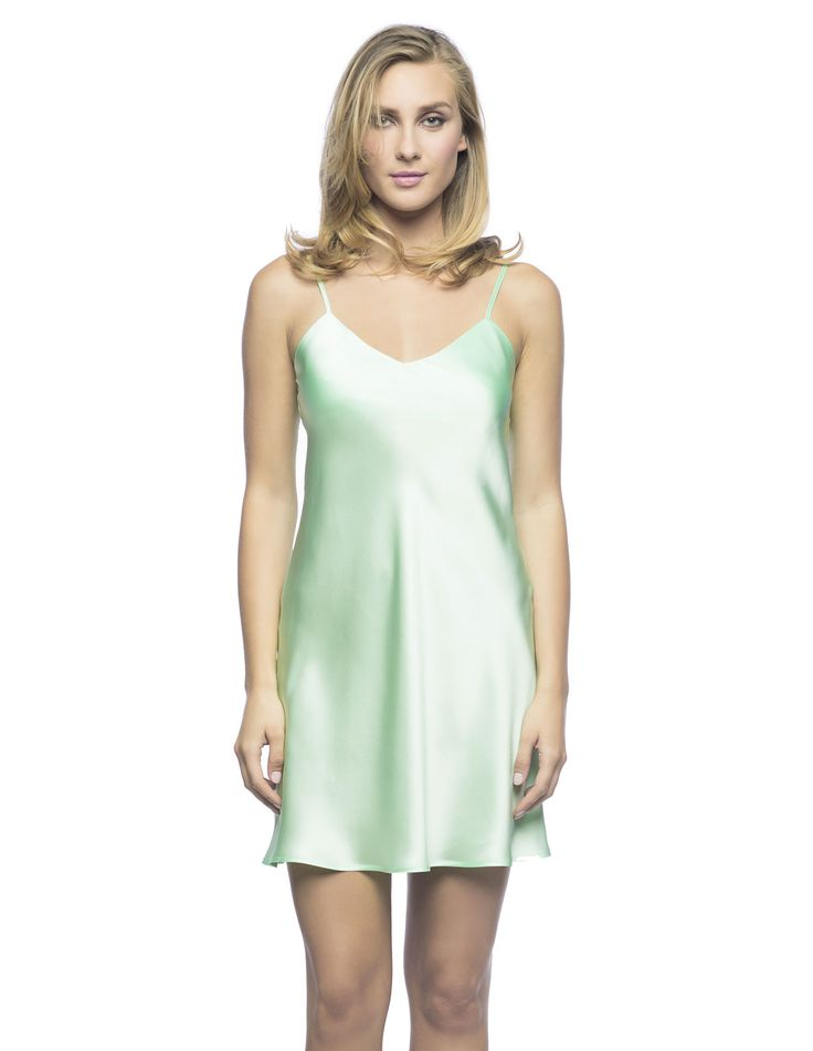 $180 Corazon Slip Du Jour in Mint. Botanical-Magical slip!  Living-wear at its best bias-cut silk slip, practically lined front and back neckline featuring golden adjustable spaghetti straps ideal to sparkle under the sun.