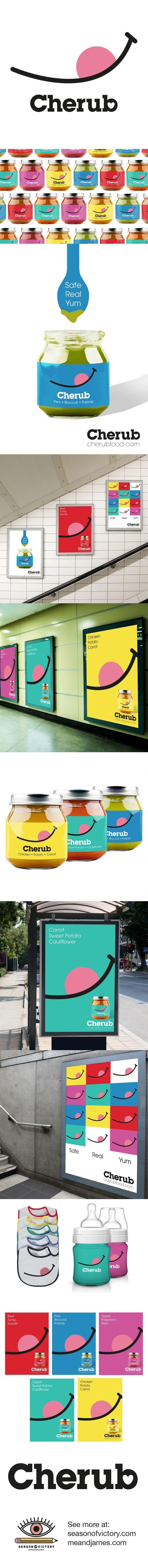 Cherub Baby Food - Packaging, Branding, Advertisment & Logo. Working with meandjames.com, we created the logo, branding, packaging design and advertisment campaign for the brand. #logo #design #graphicdesign #artdirection #packaging #foodpackaging #colorf