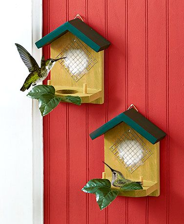 """Invite hummingbirds to settle in your yard with this Set of 2 Hummingbird Nesters. Each """"house"""" has a platform where a nest can be built as well as cotton mater"""