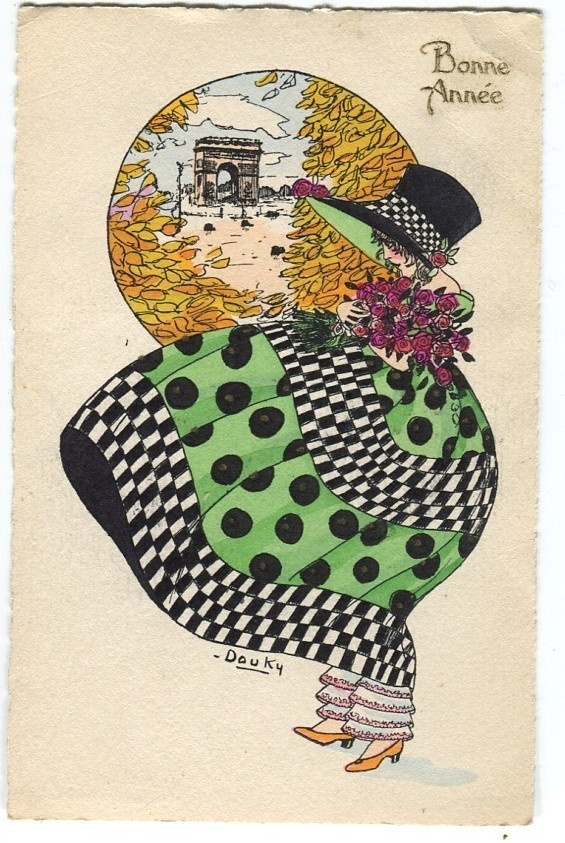 I just love the colors and deco feel of this postcard!