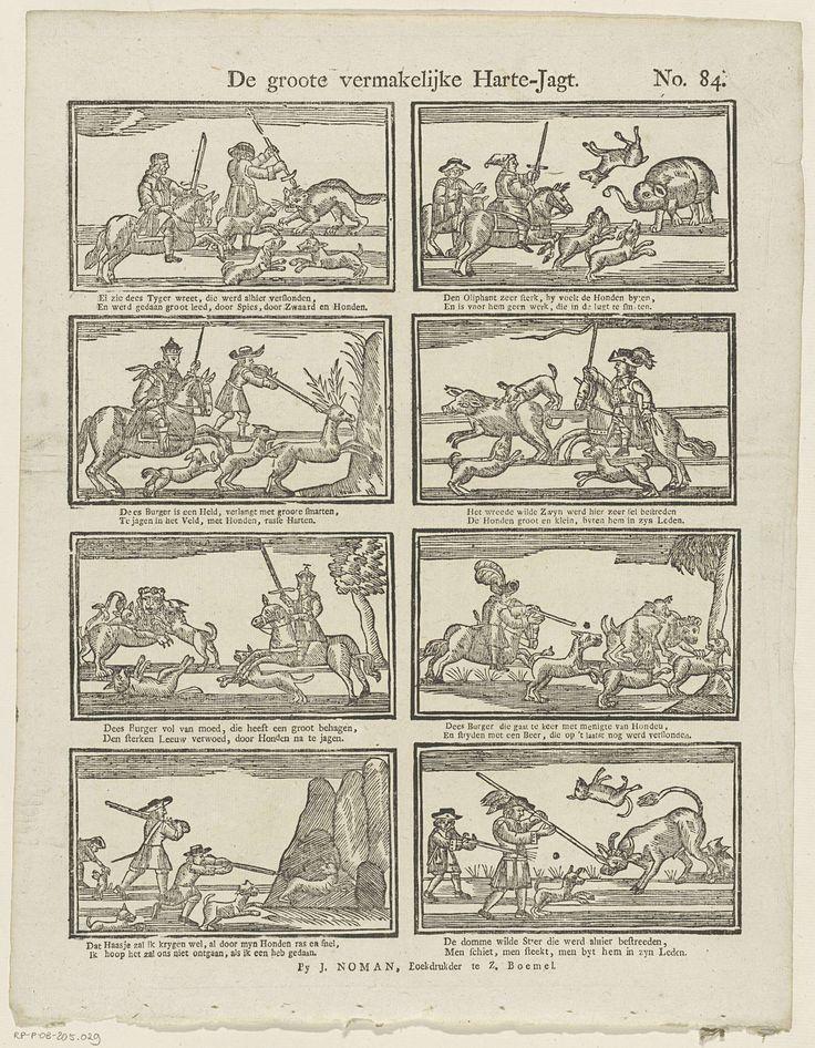 Johan Noman | De groote vermakelijke harte-jagt, Johan Noman, Anonymous, 1806 - 1830 | Blad met 8 voorstellingen van vorsten op jacht. Onder elke afbeelding een tweeregelig vers. Genummerd rechtsboven: No. 84.
