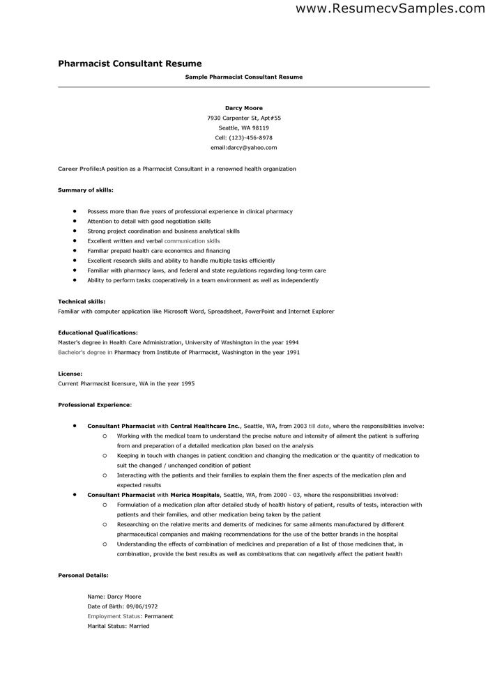 Pharmacist Resume Resume Format For Pharmacist Hospital