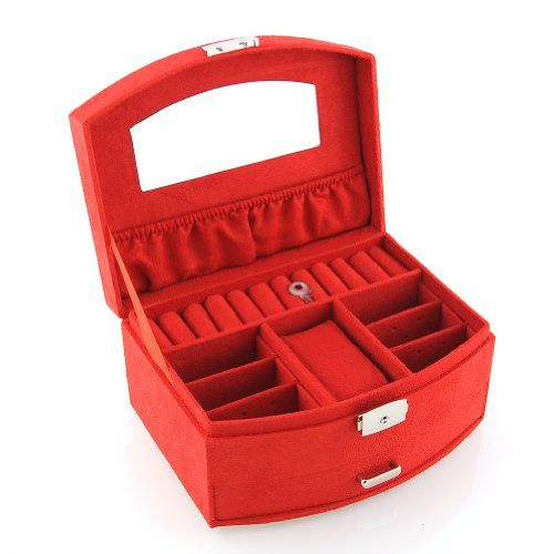 amzdeal�Schmuckkasten Schmuckschatulle Kosmetikkoffer Schminkkoffer Beautycase 1/2 F�cher Kaffee/Pink/Rot (Rot)