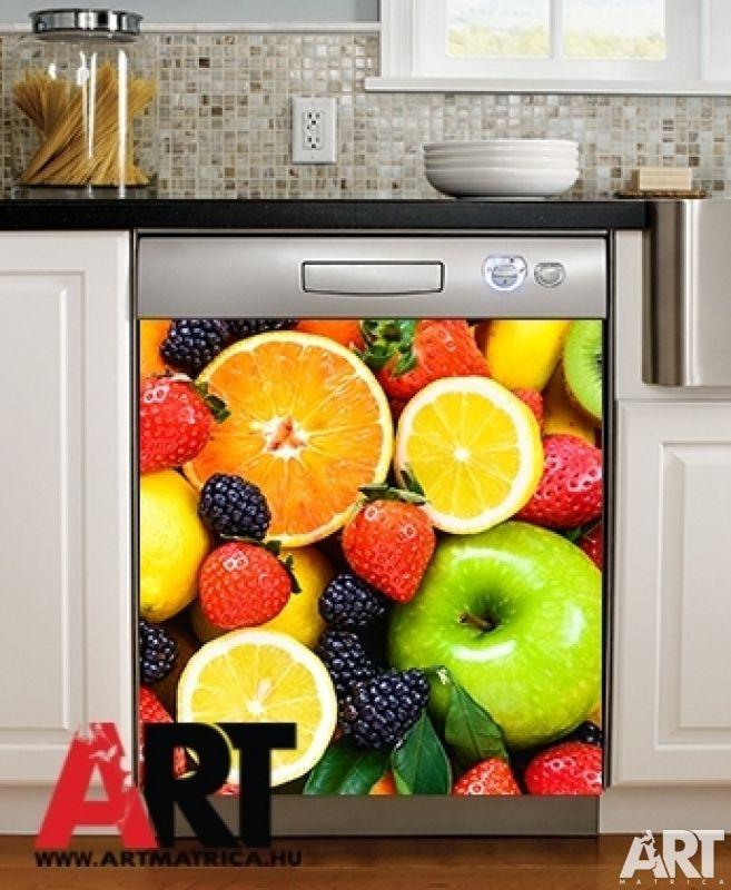 Mosogatógép mágnes matrica  Gyümölcs konyhai dekor matrica