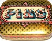 Vintage Pins Tin Miniature Snuff/Pill Box Tin Dodo Designs Near Mint