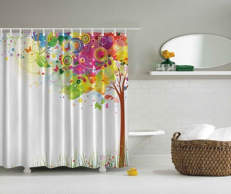 From Kessinhouse Magical Tree Butterflies Themed Digital Print Fabric Shower Curtain Hooks Incl Contemporary