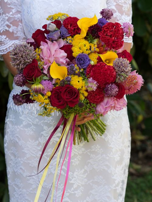 Its all about colour and texture in this stunning brides bouquet on the kapiti coast.