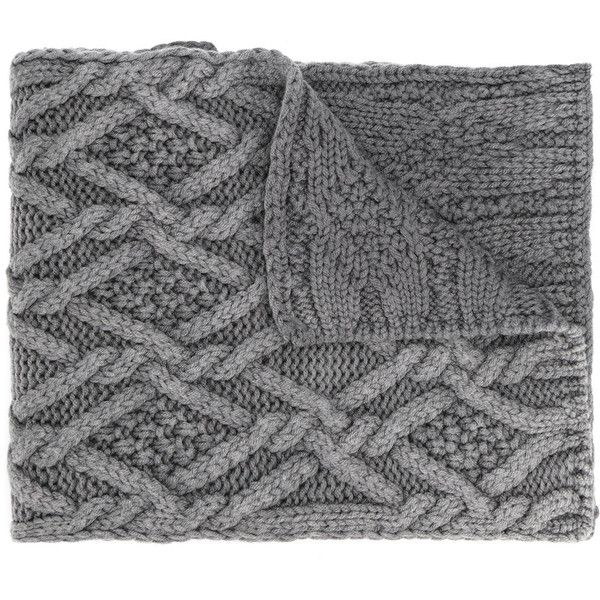 Moncler cable knit scarf (€245) ❤ liked on Polyvore featuring accessories, scarves, grey, grey scarves, chunky knit scarves, cable knit shawl, gray shawl and thick knit scarves