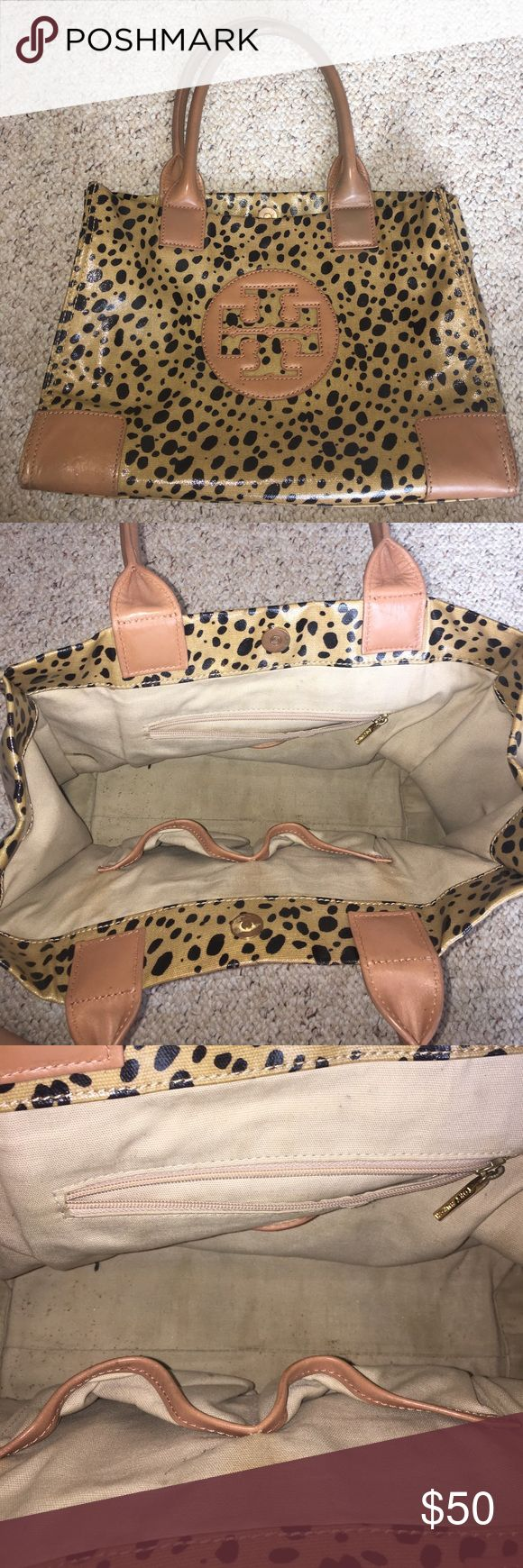 Tori Burch Limited Edition Tote Well loved, Tori Burch limited edition cheetah tote. Pictures indicate flaws and price. Had leather refinished at Tory Burch International Mall in Tampa, FL. Inside needs to be cleaned, but will leave that to buyer. Outside displays minor flaws. Please refer to pictures. Tory Burch Bags