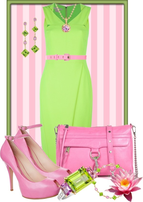 """""""Pink & Green"""" by anna-campos ❤ liked on Polyvore #followprettypearlsinc AKA 1908"""