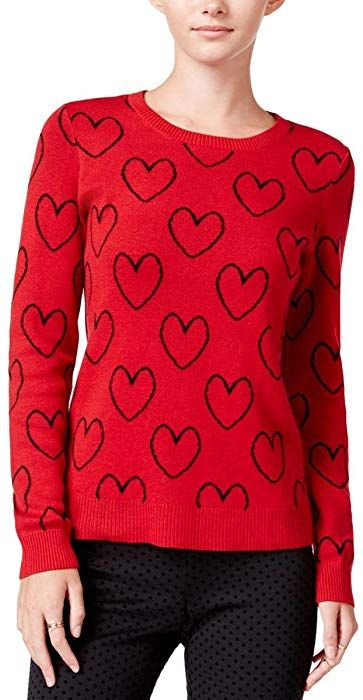 Maison Jules Womens Heart-Printed Ribbed Trim Crewneck Sweater Red S at  Amazon Women s Clothing store  ab91ed4da4