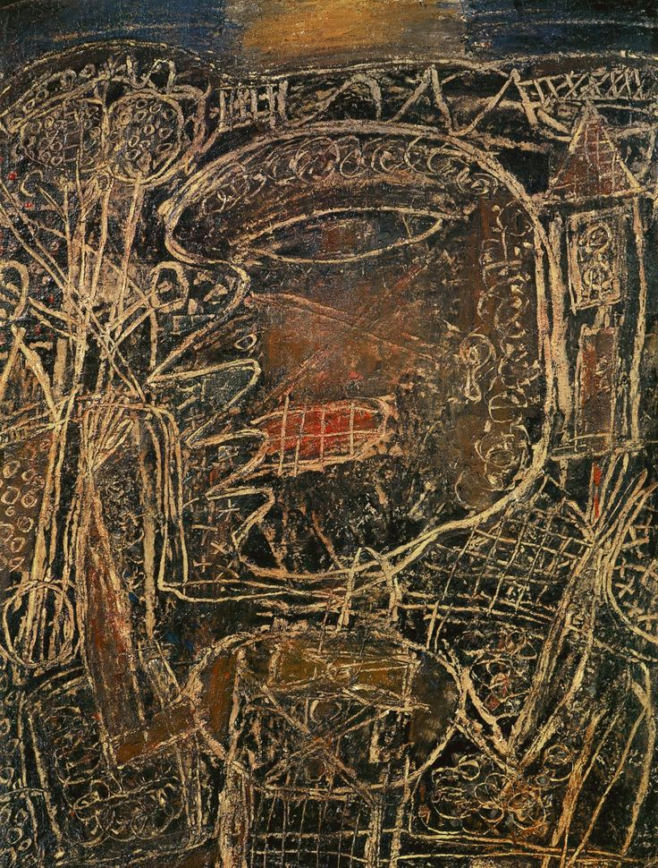 Jean Dubuffet, Figure in a Country Site(1949, oil on canvas)