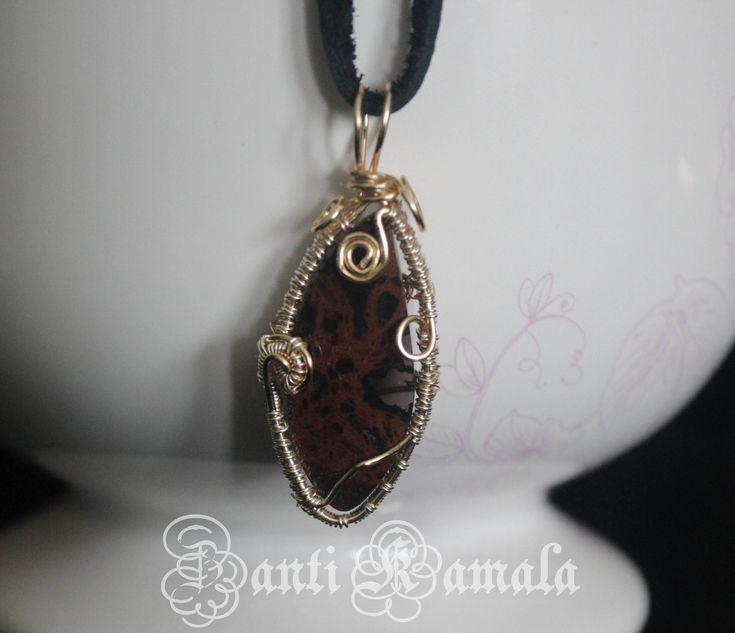 Mahogany obsidian in silver and gold necklace/silver necklace/gold necklace/obsidian/boho necklace/rustic necklace/stone jewelry by ZantiKamala on Etsy