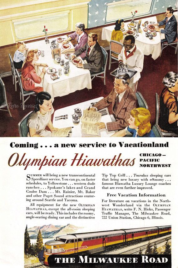 1947 Olympian Hiawathas Travel Ad - Milwaukee Road - New Service to Vacationland - 1940s Travel Advertising - Railroad Dining Car