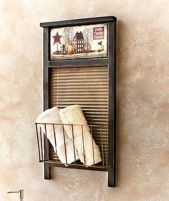 Rustic Old Fashioned Washboard Basket Rack Primitive Country Folk Art Wall Decor