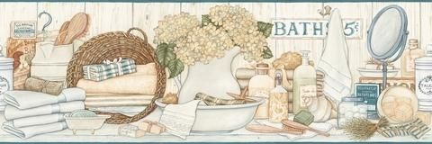 Vintage Bath Wallpaper - Wallpaper Border - BC1580643 from Design by Color/Neutral book