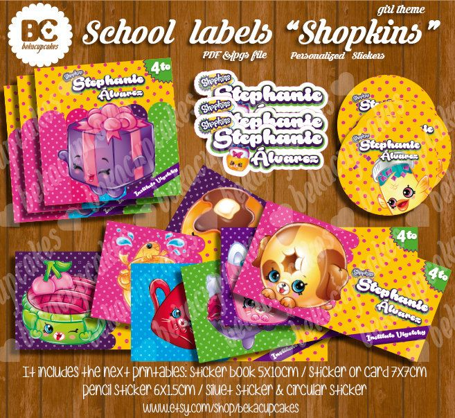 Regreso a clases, Etiquetas para los libros, o cuadernos, personalizable e imprimible Shopkins inspirado  niña, Mickey, Minnie de Bekacupcakes en Etsy