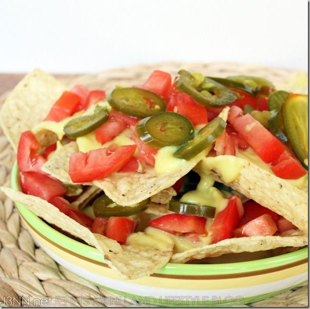 "Vegan nachos with vegan ""cheez"" sauce. The cheez sauce has a cauliflower base! Recipe included: http://www.j3nn.net/2011/07/28/nachos-with-vegan-cheez-sauce-recipeyes-mom-its-really-vegan/"