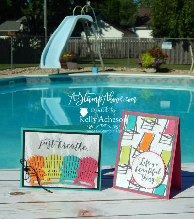 STAMPING BY THE POOL...Don't these cards just scream SUMMER FUN? I love all the bright colors! I have all the details on my blog along with links to order any of these  products. Click on the photo to head there now! Thanks so much for looking! www.AStampAbove.com