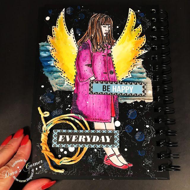 handmade layout distress crayons scrapbooking mixed media
