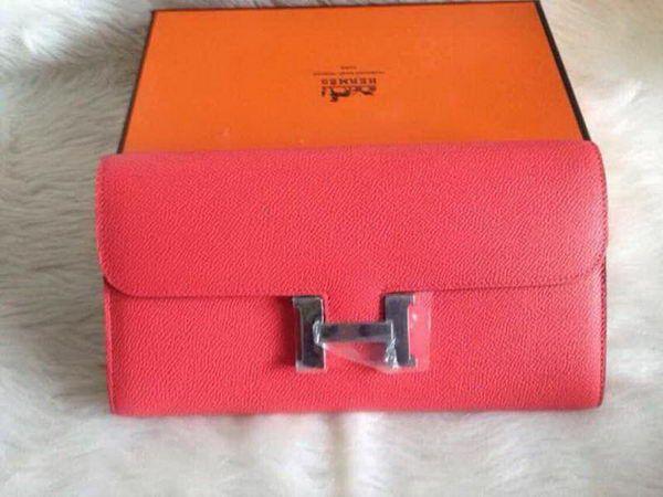 Hermes Constance Long Wallets Original Leather HA909 Light Pink