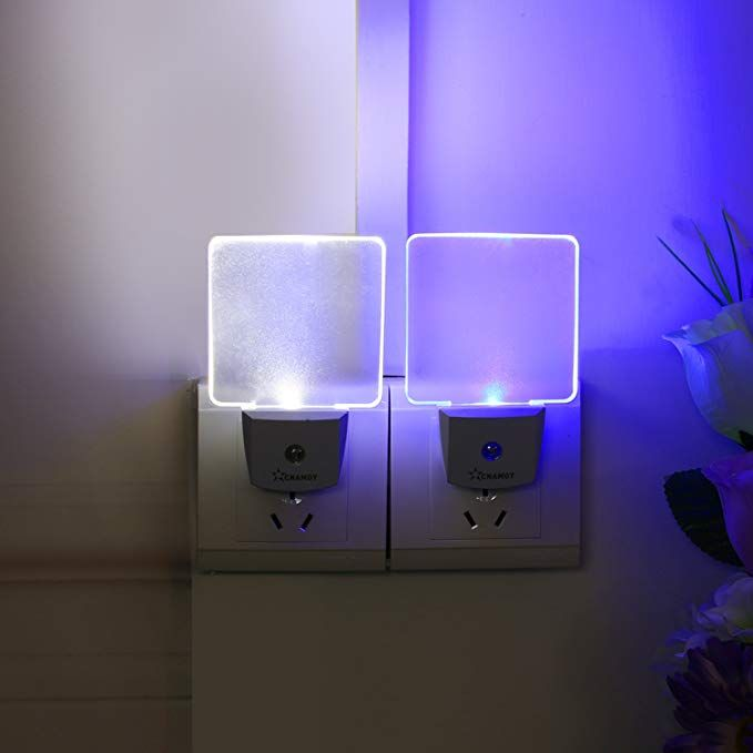 Cnamoy 2 Pack 0 5w Plug In Led Night Light Lamp With Dusk To Dawn Sensor Daylight White And Starlight Blue Automatic Light Night Lights For Kids Baby Night L Night Light Baby
