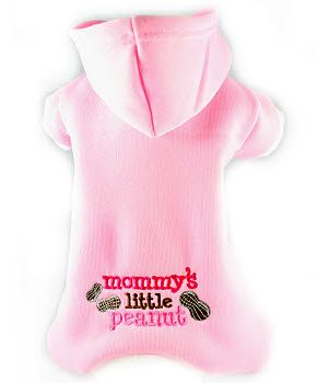 Mommy's Little Peanut Embroidered Fleece Hooded Dog Pajama - pink/white by Toni Mari Haute CoutureYour little girl will sleep warm and cozy in these soft lightweight stretchable fleece pj's. Pajamas also help keep your sheets, her bed, the sofa and blankets hair free.  Snap underbelly closures, contrasting trim. Is your little one hard to fit?  We offer custom fit pj's to fit your little one perfectly! Measurements Needed: Neck, Girth, Length & Weight.  We have a chart to assi