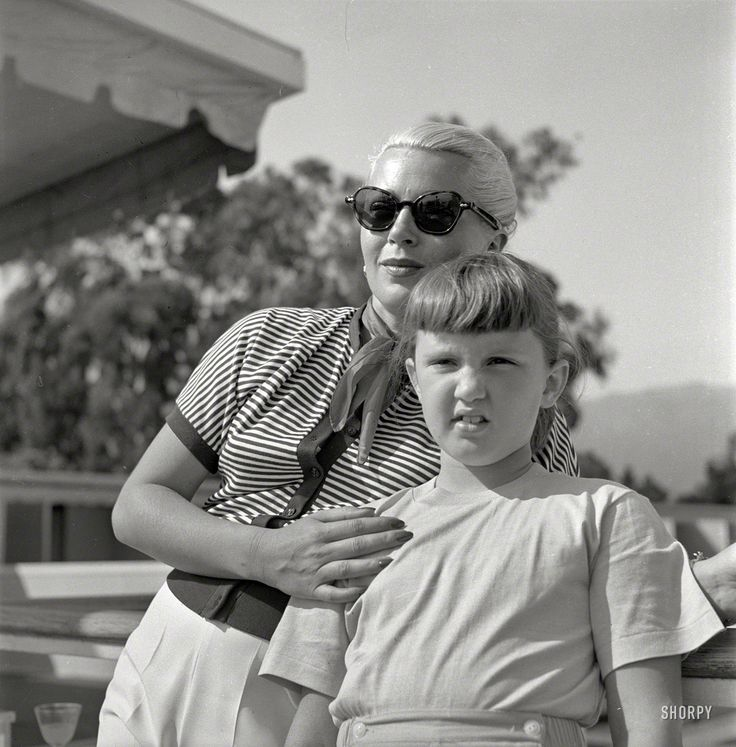 "Santa Barbara, 1951. ""Actress Lana Turner and daughter Cheryl Crane."" Who, seven years after this picture was snapped, had a fatal run-in with her mother's gangster boyfriend. Photo by Earl Theisen for Look magazine."