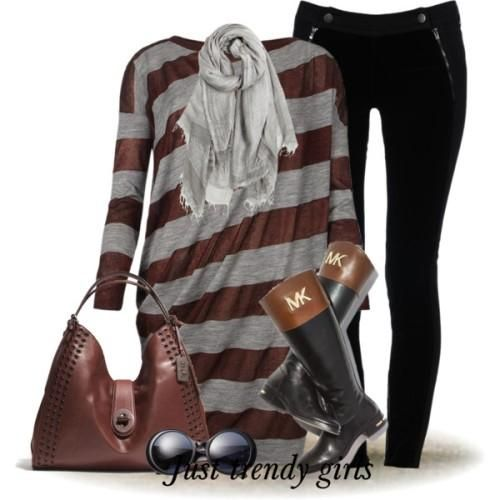striped winter dress with jeans outfit, Women Casual wear in winter http://www.justtrendygirls.com/women-casual-wear-in-winter/