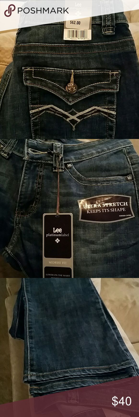 Lee jeans, brand new , never worn with tags . Great detail on jeans, faded, boot cut legs. Midrise. Very comfortable.  long for me.. Lee Jeans Boot Cut